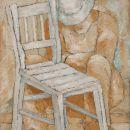 Siesta mit Stuhl, 100x73 cm, Terracota / Pigmente auf Leinwand
