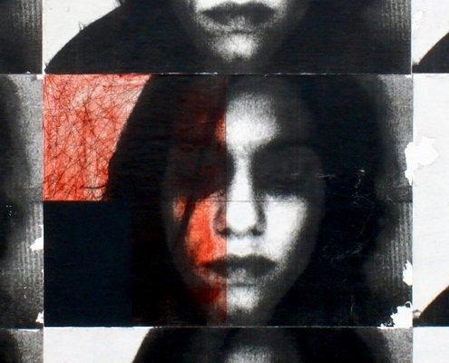 Deniz Hasenöhrl: DREAMLAND (Ausschnitt), mixed media on wood, 80 x 85 cm, 2013