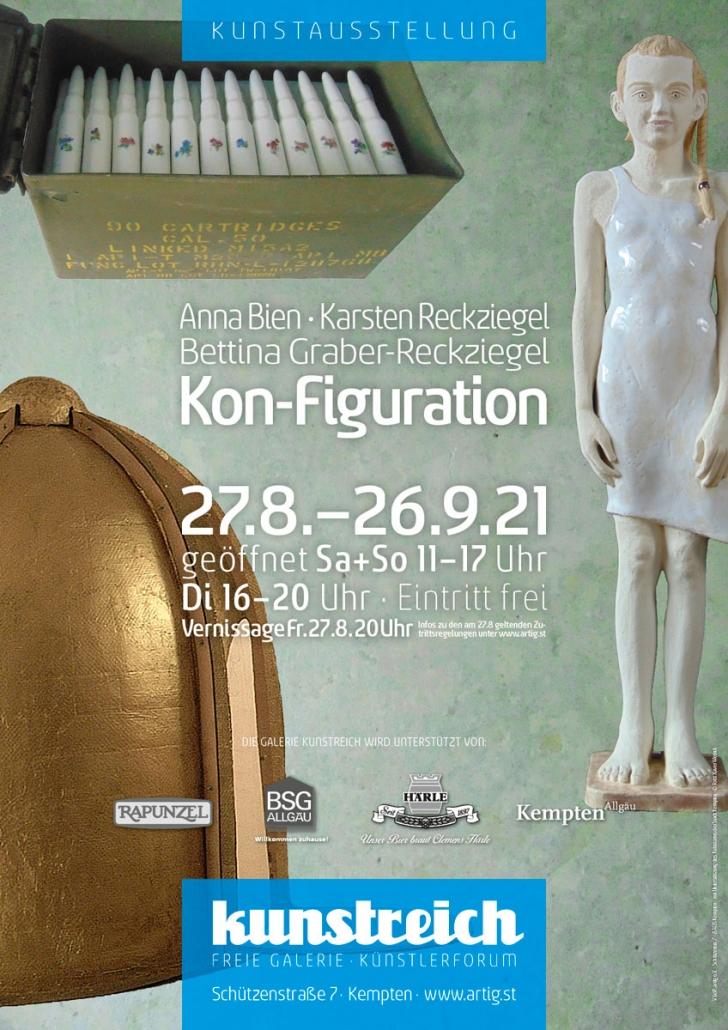Plakat Ausstellung KON-FIGURATION mit Bettina Graber-Reckziegel, Anna Bien und Karsten Reckziegel